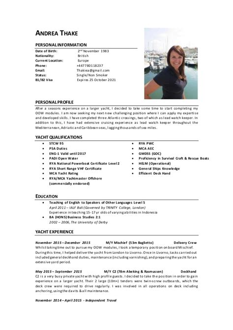 Cover Letter For Yacht Superyacht Resume