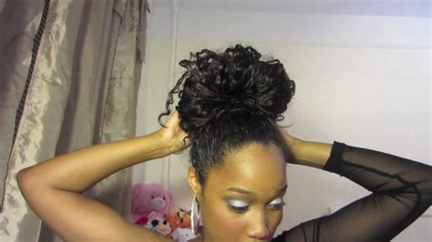 pics of black pretty big hair buns with added hair top knot ballerina bun tutorial on curly hair youtube