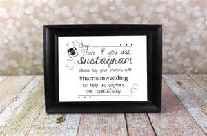 instagram wedding sign with hashtag name hashtag card
