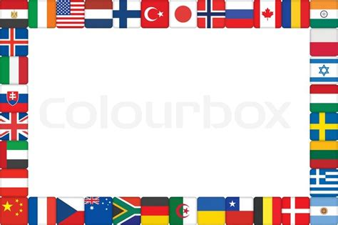 flags of the world border clipart frame made of world flag icons vector illustration stock