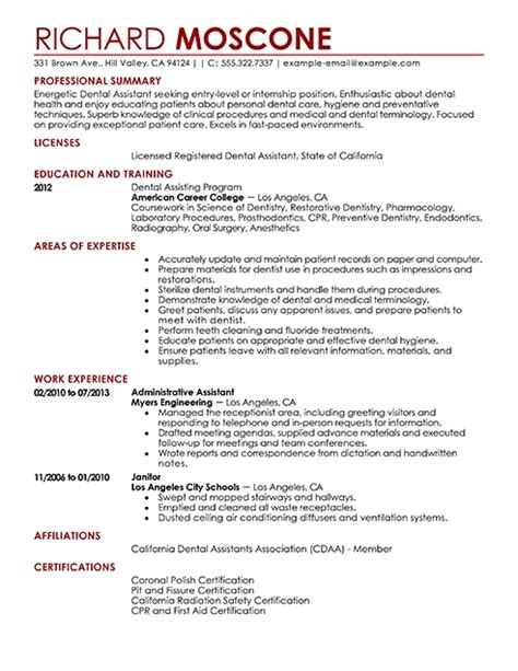 dental assistant resume objectives dental assistant resume sle jennywashere