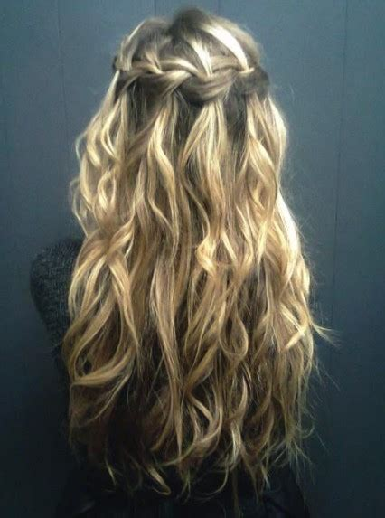 hairstyles braids waterfall waterfall braid for curly hair long curly hairstyle with