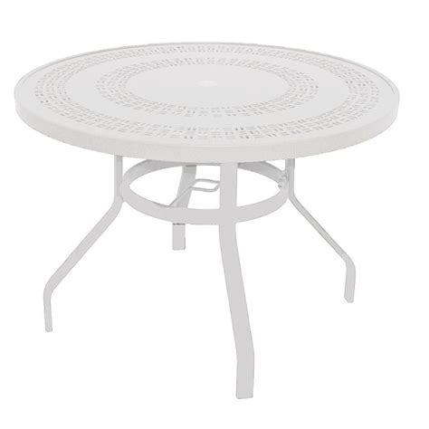 White Patio Dining Table Marco Island 42 In White Commercial Aluminum Patio Dining Table B42puj W The Home Depot