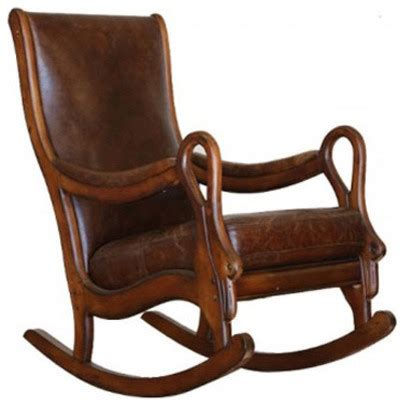 Shop Houzz ARTeFAC Distressed Leather Rocking Chair Rocking Chairs