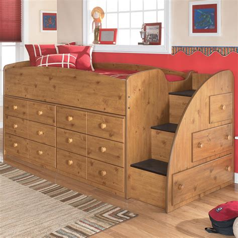 ashley loft bed stages twin loft bed with right steps chest storage by