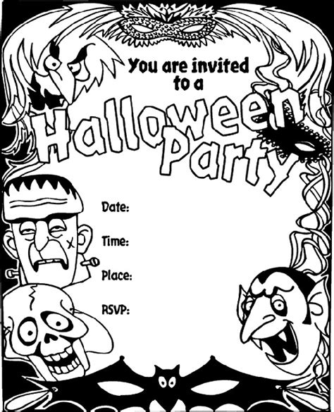 invitation card coloring page 16 awesome printable halloween party invitations kitty
