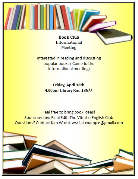 Book Club Flyer Template Publisher Flyer Templates Free Flyer Designs In Ms Publisher Club Wedd Invitation Templates