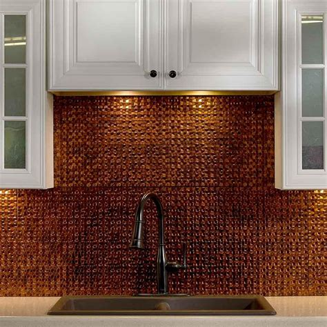 unique style with copper backsplash tiles great home decor