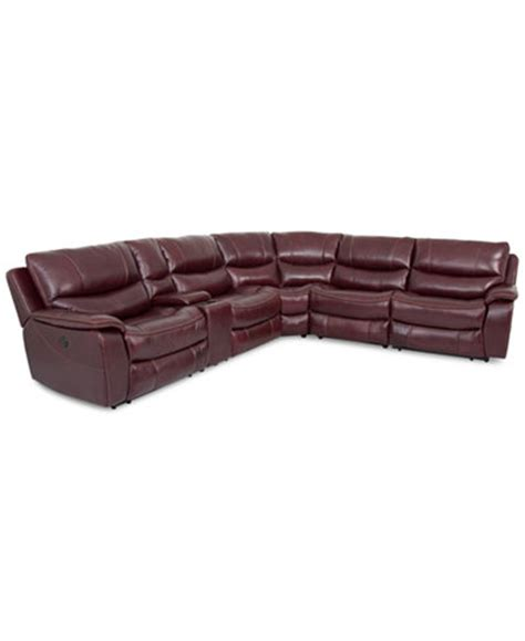 Leather Sectional Power Recliner by Daren Leather 6 Power Reclining Sectional Sofa With