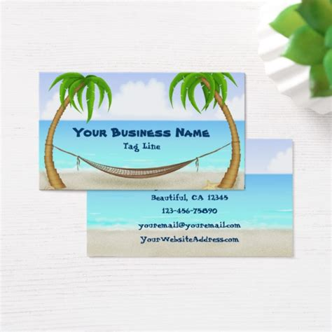 tropical cards palm trees and hammock tropical business card