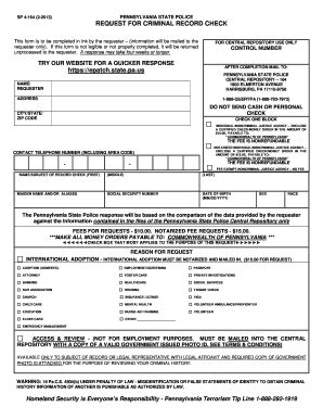 Pennsylvania State Criminal History Record Form Sp 4 164pdffillercom Fill Printable Fillable Blank Pdffiller