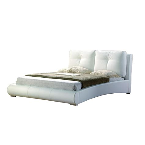 White Yorkshire Modern Leather Bed Frame With Built In Faux Leather Bed Frames