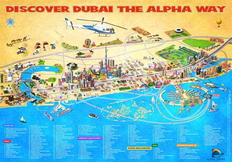 city map with attractions dubai map letters maps