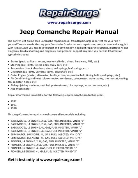 service and repair manuals 1992 jeep comanche electronic toll collection service manual pdf 1992 jeep comanche workshop manuals jeep comanche repair manual 1990