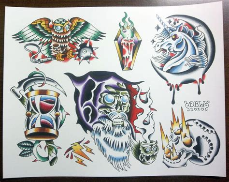 tattoo flash sheets wizards traditional flash sheet