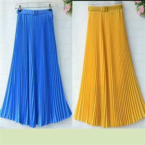 90cm floor length skirts blue yellow pink pleated