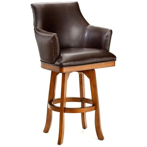 wood and leather bar stools fauc brown leather swivel counter stool with light brown