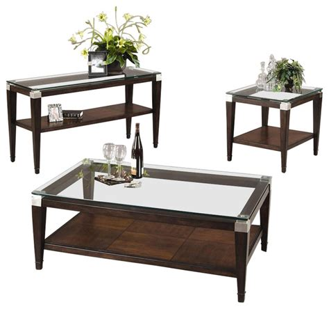 3 pc floating glass top table set in walnut finish