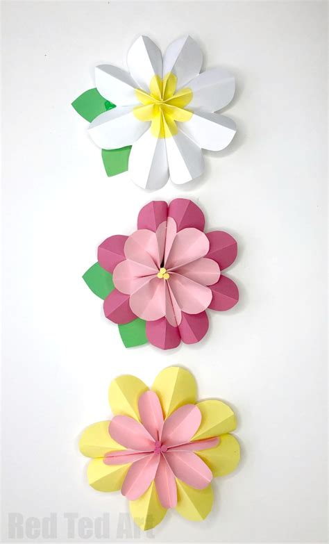 How To Make A 3d Flower Out Of Construction Paper - easy 3d paper flowers for ted s