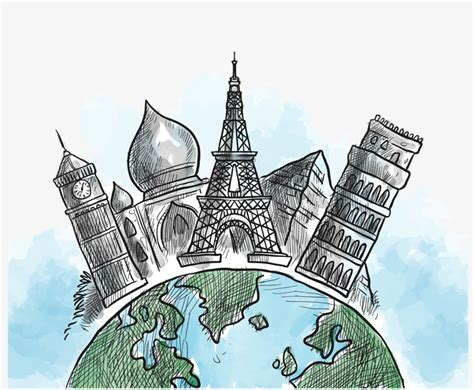dibujos mas realistas del mundo monumentos del mundo dibujo decorativo acuarela