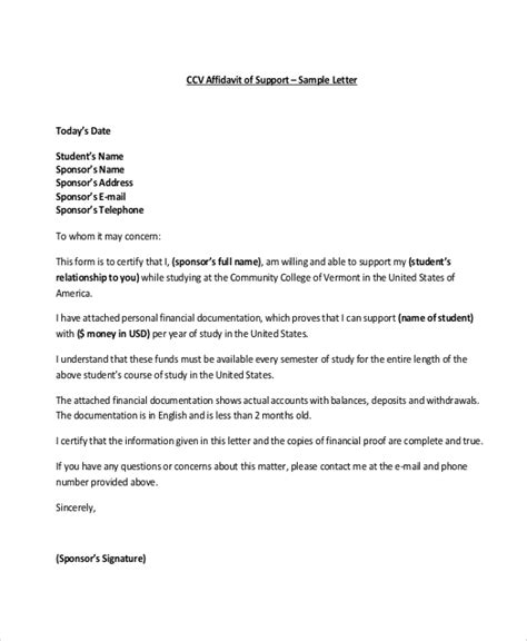 Partnership Support Letter For Immigration affidavit sle letter for support docoments ojazlink