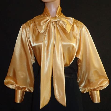 Prio Blouse X S M L shiny new liquid satin sl bow blouse top vtg high