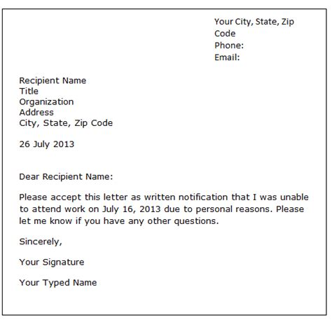 official leave letter format leave of absence letter sle formal letter sles
