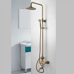 Bath Shower Tap Antique Brass Tub Shower Faucet With 8 Inch Shower Head