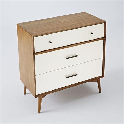 White Mid Century Dresser by Mid Century 3 Drawer Dresser White Acorn West Elm