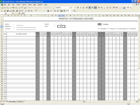 attendance register templates excel xlts