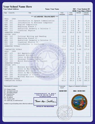 Official Transcript Template by College Transcript Templates Exles Transcripts
