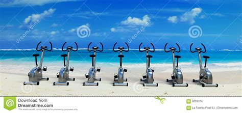 Spinning Bike Sport Id 9 2n spinning class in paradise stock images image 6028374
