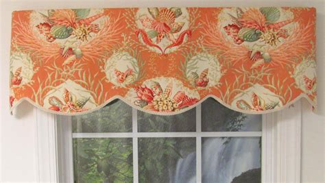 coral and aqua curtains seaworthy seashell pattern cornice valance