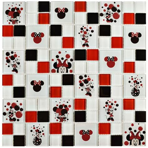 mickey mouse tiles for bathroom disney minnie red 11 3 4 in x 11 3 4 in x 5 mm glass