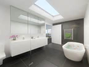 modern bathroom design with freestanding bath using