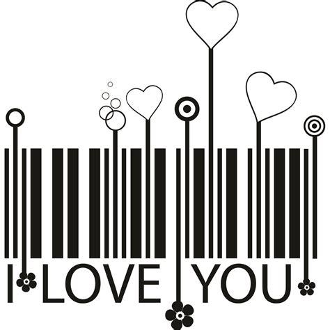Wall Sticker Lyrics i love you barcode and hearts wall sticker world of wall