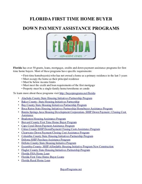 Time Home Buyer Florida Criteria Faqs Florida by Collection Ship Program In Florida Requirements Photos