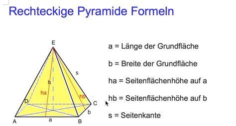 was ist die höhe einer küchentheke rechteckige pyramide formeln