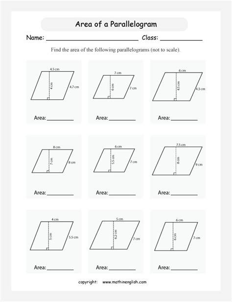 printable area formulas printables area of parallelogram worksheet calculate the