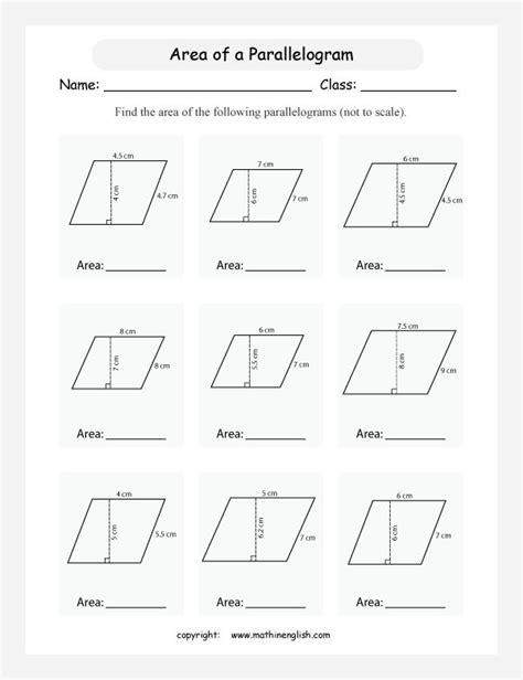printable area  parallelogram worksheet area worksheets math parallelogram