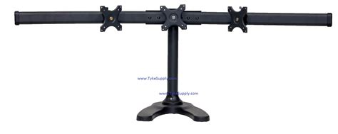 Triple Free Standing Monitor Stand With Fixed Center Mount Tyke Supply Dual Lcd Monitor Stand Desk Cl