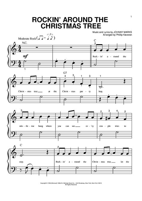 rockin around the christmas tree sheet music for piano