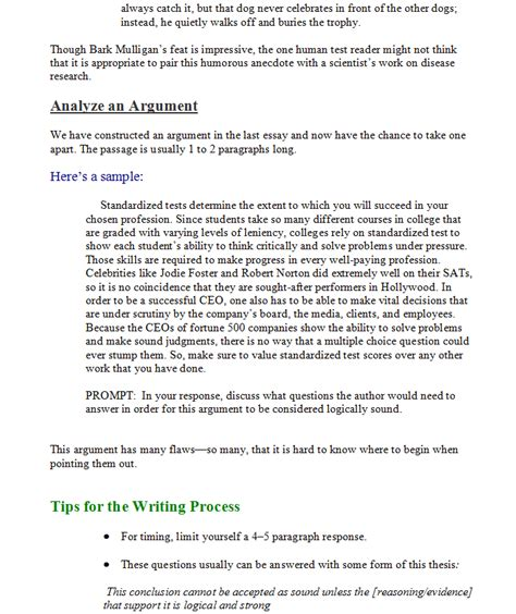 writing section gre 09 the analytical writing section question types