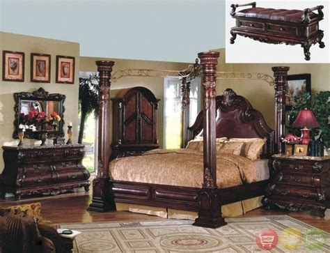 four poster bedroom sets king cherry poster luxury canopy bed w leather headboard master bedroom ebay