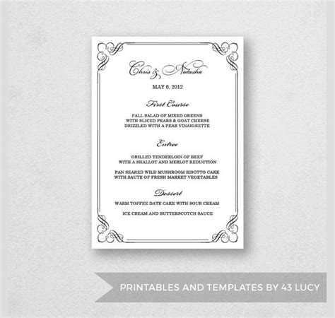 menu card template word modern clean 24 dinner menus sle templates