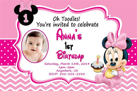 minnie mouse birthday invitation card template baby minnie mouse 1st birthday invitations dolanpedia