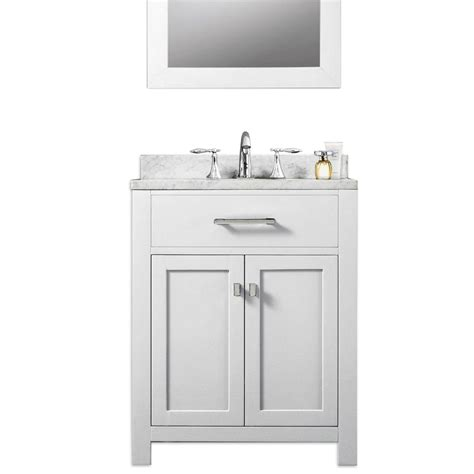 White Bathroom Vanity With Sink Water Creation 24 Quot Solid White Traditional Single Sink Bathroom Vanity Madison24w At