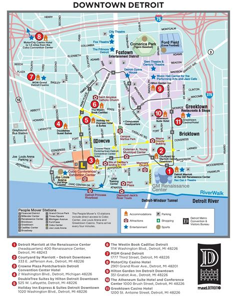 detroit usa map detroit tourist attractions map
