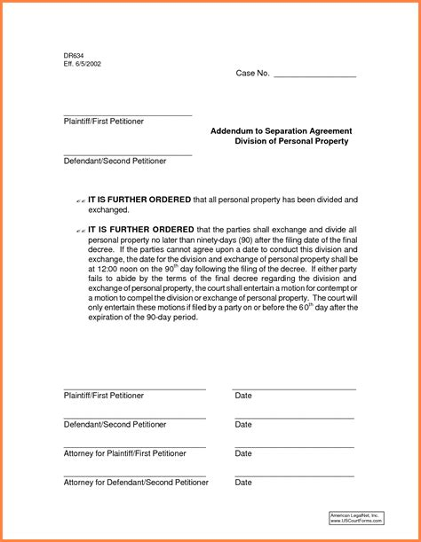 6 common law separation agreement template purchase