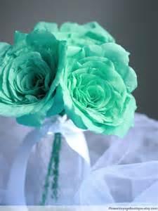 Mint Green Flowers Seafoam Mint Green Paper Flowers Roses Bride Bridesmaid Bouquet Wed
